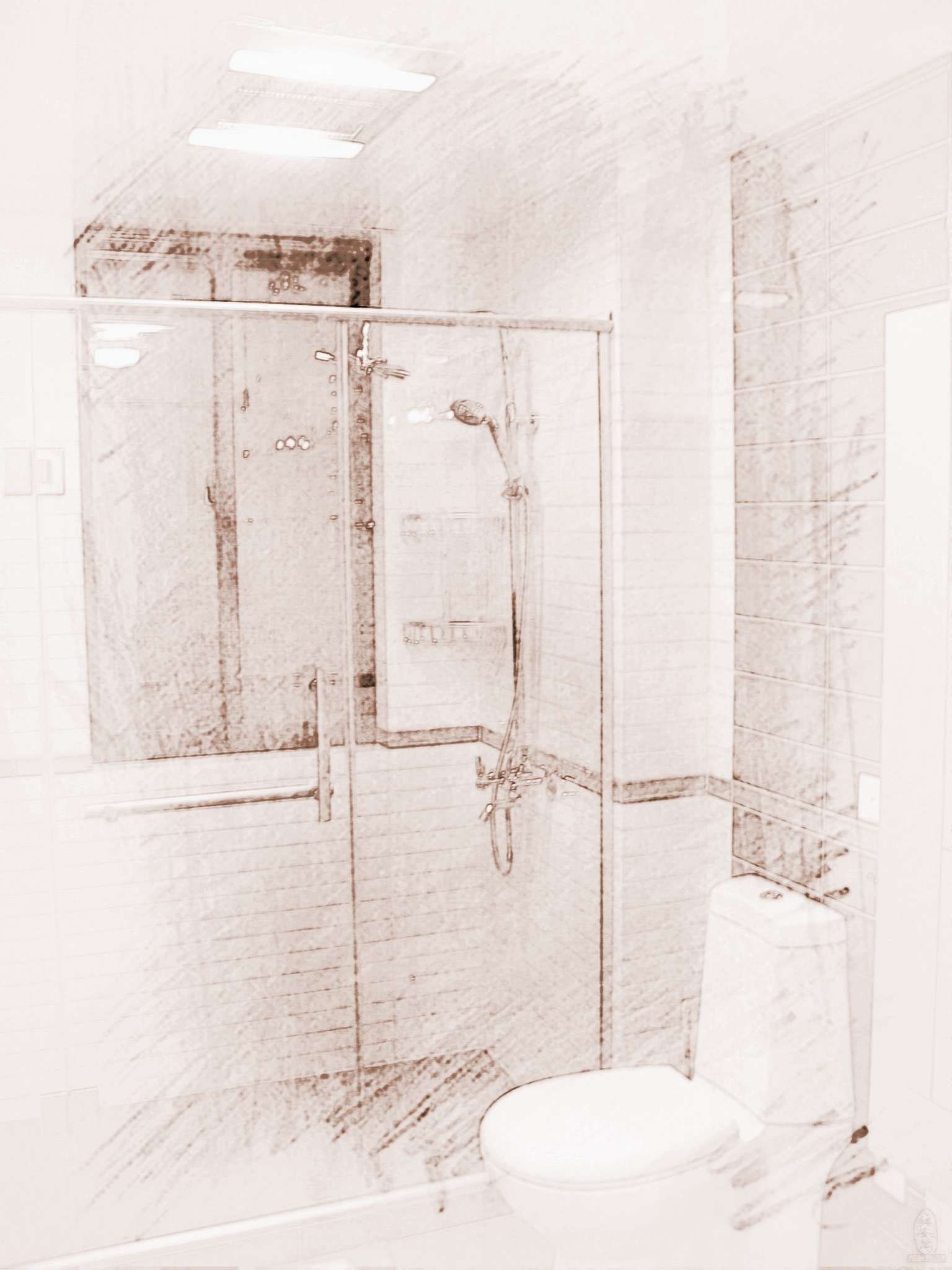 家庭长方形卫生间装修图